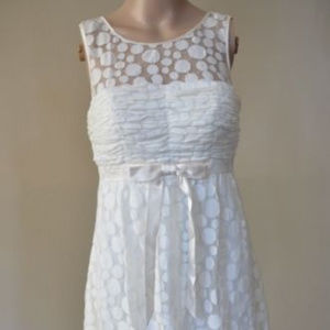 SUE WONG Polka Dot Ribbon Dress Cream 4 #215